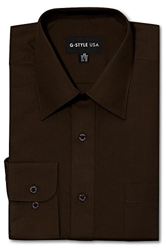 G-Style USA Men's Regular Fit Long Sleeve Solid Color Dress Shirts - Brown - X-Large - 34-35