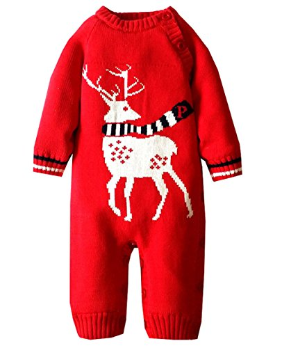 Price comparison product image Baby Bunting Winter Deer Knitted Bodysuit Warm Rompers Jumpsuit Snowsuit Coat (6 Month( Length:64CM), Deer Red)