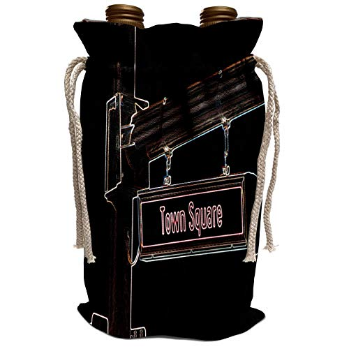 3dRose Jos Fauxtographee Realistic - A Town Square Sign Done with Glowing Edges in Las Vegas, Nevada on a Black Background - Wine Bag ()
