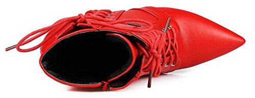 Booties High Stilettos Pointy Elegant Red Women's Toe Aisun Lace Up With Zipper 8SpBnZ