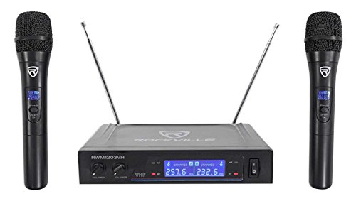 Rockville RWM1203VH VHF Wireless Dual Handheld Microphone System/Digital Display by Rockville
