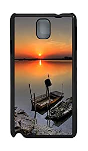 Samsung Note 3 Case Moored Boats And Beautiful Sunsets PC Custom Samsung Note 3 Case Cover Black