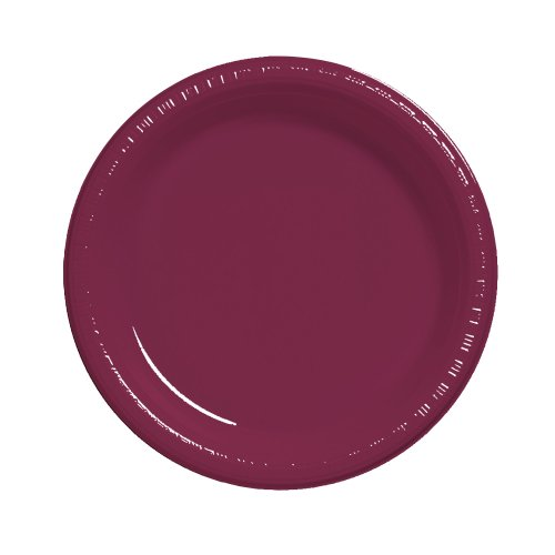 Creative Converting Touch of Color 20 Count Plastic Lunch Plates, Burgundy - 28312211