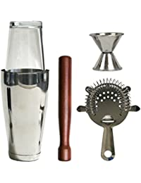 Purchase 2dayShip Stainless Steel Bar Set, 5 Piece (Cocktail Shaker, Mixing Glass, Jigger, Julep Strainer and Muddler) cheapest