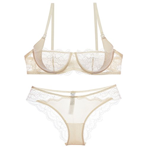 Varsbaby Women See-Though Non Padding Underwire Lace Sheer Bra and Panties Sets(V388TM, 34C, White)