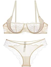 Women See-Though Non Padding Underwire Lace Sheer Bra and Panties Sets