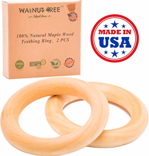 """Made in USA - First Organic Maple Montessori Wood Teether Ring 3"""", Treated with Organic Vegan Wax, Handcrafted Toy (2 Rings)"""