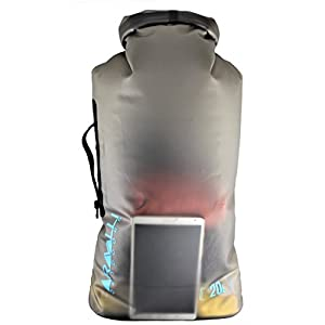 20L Eco Friendly TPU Scuba & Kayaking Dry Bag - Side Carry Handle - 2 Shoulder Straps - PVC Free, Waterproof, and Semi Transparent Roll Top Storage