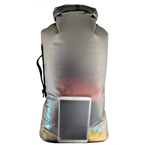 20l Dry Bag (Aravalli Outdoors 20L Eco Friendly TPU Scuba & Kayaking Dry Bag - Side Carry Handle - 2 Shoulder Straps - PVC Free, Waterproof, and Semi Transparent Roll Top Storage)