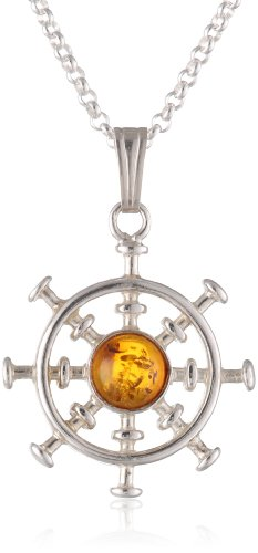 Sterling Silver Honey Amber Ship Wheel Pendant Necklace on Italian Rolo Chain, 18