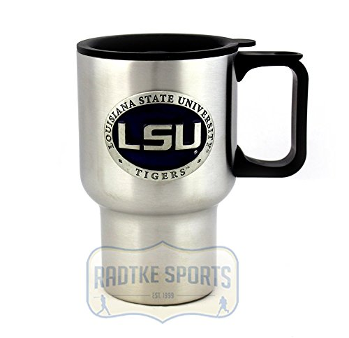LSU Tigers NCAA 14 oz. Stainless Steel Travel Mug - Purple Enamel Emblem