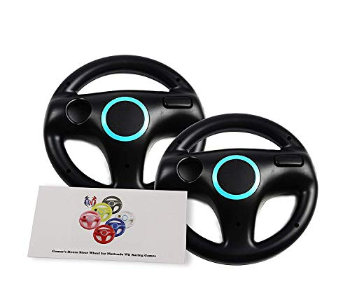 GH 2 Pack Wii Wheel for Mario Kart 8 , Wii (U) Steering Wheel for Remote Plus Controlle - Bomb Black (6 Colors Available) (Mario Wii Remote)