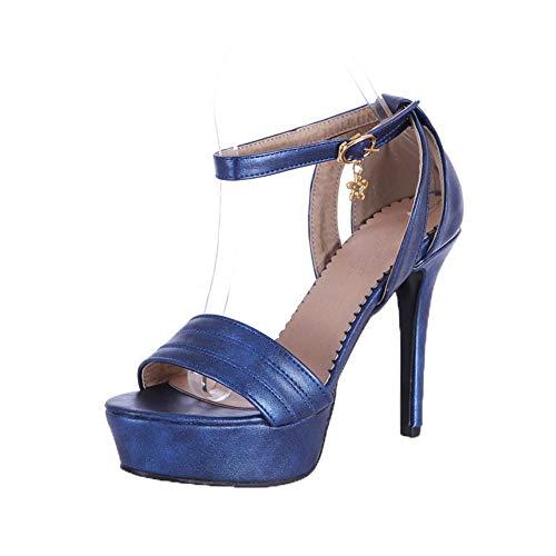 AalarDom Women's Solid Pu High-Heels Open-Toe Buckle Sandals,