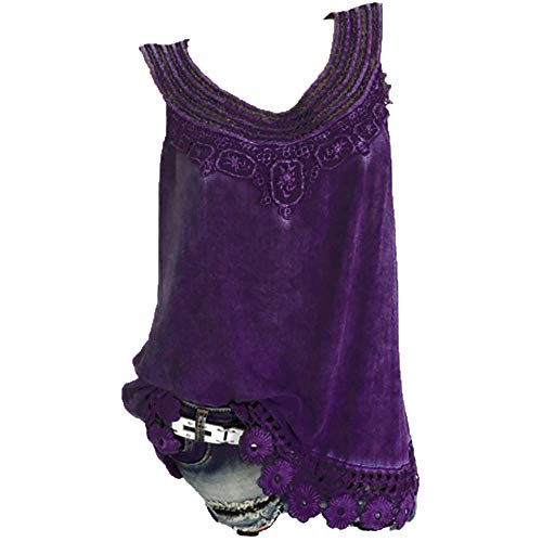 iYBUIA Women O-Neck Sleeveless Pure Color Lace Plus Size Vest Loose T-Shirt Blouse with Hollow Hem Purple by iYBUIA (Image #1)