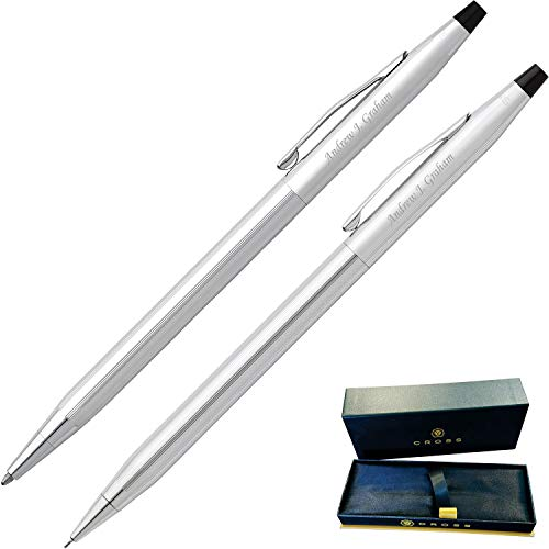Dayspring Pens | Engraved/Personalized Cross Classic Century Pen & Pencil Gift Set - Lustrous Chrome. Custom Engraved Fast!