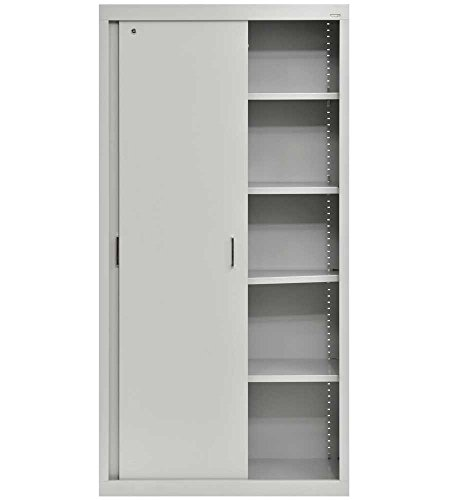 Sliding Door Storage Cabinet 72 Inch High Dove Gray by Sandusky Cabinets