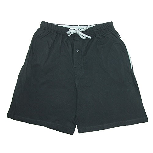 (Hanes Men's Jersey Knit Cotton Button Fly Pajama Sleep Shorts, Large, Black)