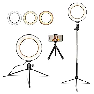 """Best Epic Trends 41UfqZ5DLRL._SS300_ 6"""" Selfie Ring Light with Tripod Stand & Cell Phone Holder for Live Stream Makeup,Mini Led Camera Ring Light Table Lamp Fill Light for YouTube Video Photography Shooting Vlog USB Plug"""
