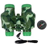 Ichiias Kid Binoculars Child Outdoor Birding Binocular Children Telescope Set with Compass Toy Gift