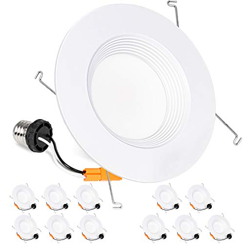 Hykolity 12 Pack 5/6 Inch LED Recessed Downlight Retrofit, 15W LED Can Light Bulb, Baffle Trim, 1000lm 4000K Neutral White LED Recessed Ceiling Light, CRI90, Damp Rated, Dimmable, ETL - Led Recessed Retrofit Trim