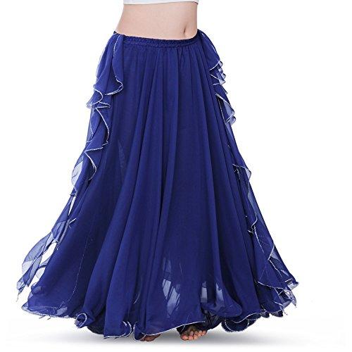 ROYAL SMEELA Women's Belly Dance Chiffon Skirt ATS Voile Maxi Full Dress Bellydance Skirts Dark Blue One Size
