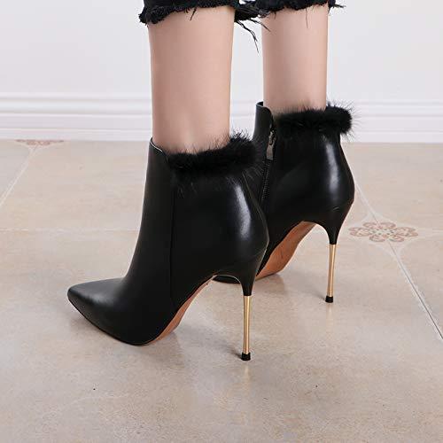 KPHY Damenschuhe Damenschuhe Damenschuhe Sexy High Heel - Stiefel 10.5Cm Frauen Scharf Darauf Mode - Stiefel Dünnen Seite Seite Reißverschluss Blanken Stiefeln. 8546e8