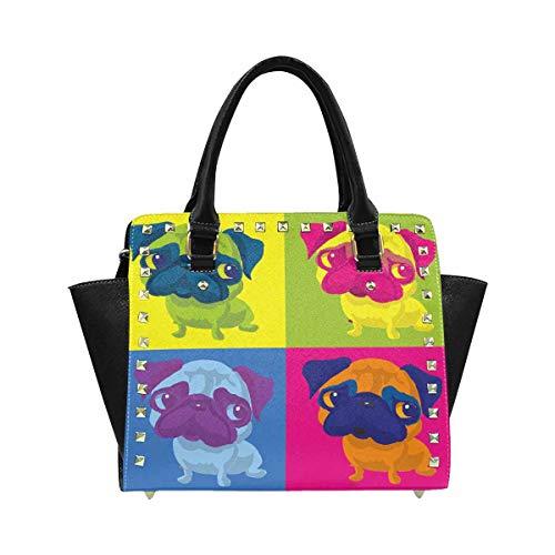 InterestPrint Women's Pug Dog Andy Warhol Style PU Leather Satchel Shoulder Tote Bags Top Handle Handbags