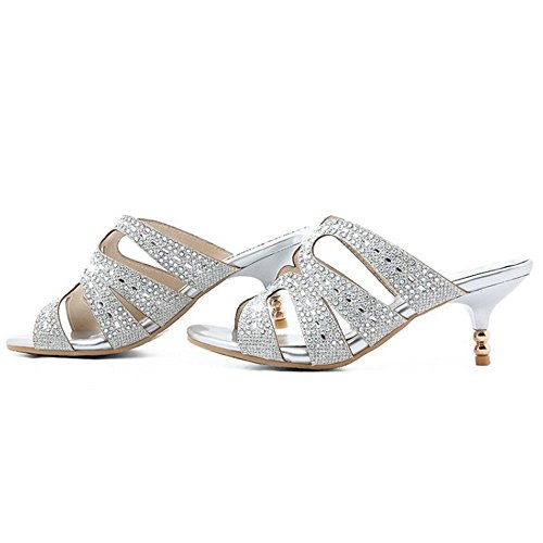 Silver Comfort Kitten Women Shoes Heel Mid Heel Sandals RizaBina Cut Mules Out Hqg6w6p