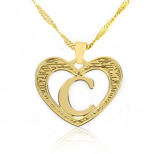 Beautiful Initial Heart Pendant Necklace 24k Gold Plated Personalized Charm Choose Your Letter (24k Gold Pendant Charm)