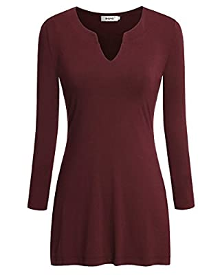 Bepei Women V Neck Long Sleeve Knit Tops Business Casual Wear Blouses Shirts