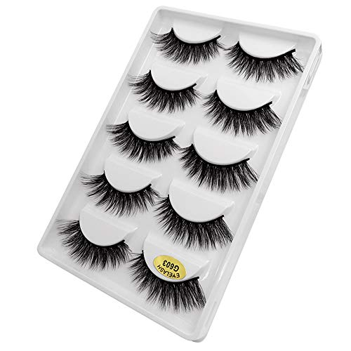 GoodLock Hot!! 5 Pairs 3D Fashion Party False Eyelashes Thick Eyelashes Extension Colorful Makeup Handmade Soft Premium Quality Best Natural Look False Lashes Easy to Apply ()