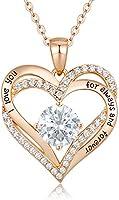 CDE Collier Pour Femmes Amour pour Toujours Cœur Collier en Argent Sterling 925 Plaqué Or Rose Pierre de Naissance...