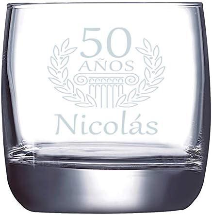 Calledelregalo Regalo Personalizable para Hombres por su cumpleaños: Vaso de Whisky Grabado con el Nombre y Edad Que tú elijas.