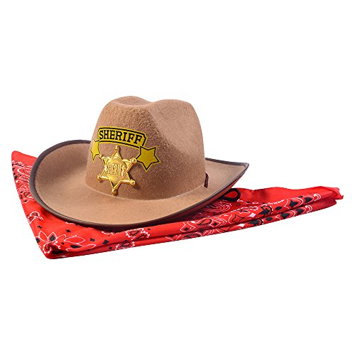 Funny Party Hats Sheriff Costume Hat w/ Badge & Bandanna - Costume Accessory]()