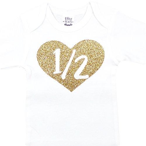 Half Birthday Bodysuit Girls 1/2 in Heart Birthday Glitter Gold Outfit for Baby Girls