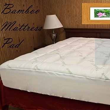 OrganicTextiles Luxurious Bamboo Fitted Mattress Pad, Snug fit Topper. Extra Plush, Extra Soft (Cal King) -