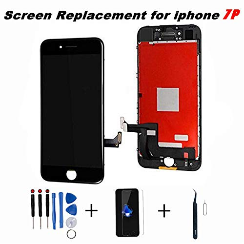 Saigain Screen Replacement for iPhone 7 Plus Black 5.5 Inch LCD 3D Touch Screen Digitizer Display Replacement Including Repair Kit and Screen Protector (Black)