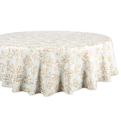 DII 100% Cotton, Machine Washable, Printed Metallic Holiday Tablecloth - 70
