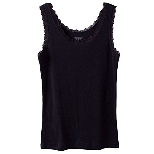 Tank Ribbed Top Lace (Micmall Cami Camisole Cotton U Style Lace Spaghetti Strap Women's Tank Top Black Large)