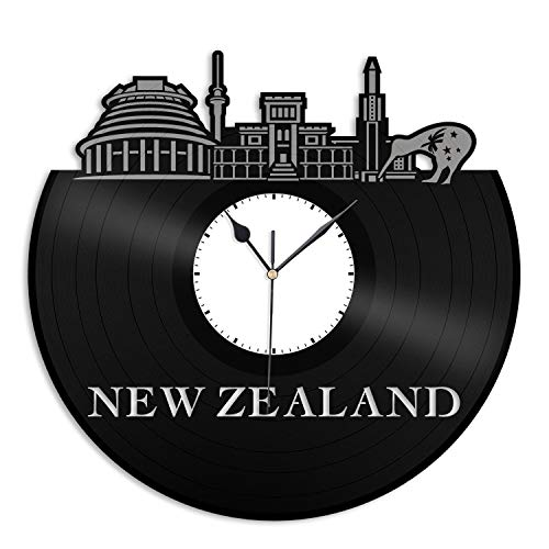 VinylShopUS - New Zealand Vinyl Wall Clock Skyline Unique Gift for Friends Home and Office | Room Decoration