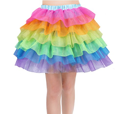 Rainbow Tutu Skirt for Women Unicorn Skirts Colorful Tulle Tiered Dancing Petticoat for Party, Halloween, Ballarina