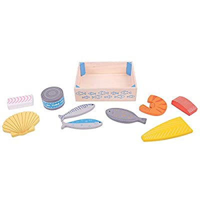 Bigjigs Toys Wooden Seafood Crate - Play Food and Role Play Toys: Toys & Games