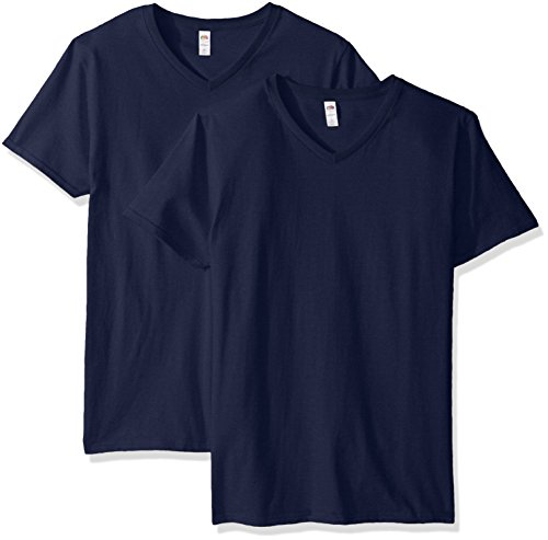 (Fruit of the Loom Men's V-Neck T-Shirt (4 Pack), Jnavy, Large)