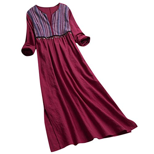 (Witspace Women Vintage Daily Casual Long Sleeve Striped Printed V-Neck Summer Maxi Dress)