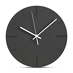 FlorLife Silent Non-Ticking Wall Clock, Simple Modern Unique Wall Watch, Battery Operated Large Black Decorative Clock for Living Room Bedroom School Classroom 12 Inch - Easy to Read