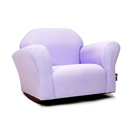 KEET Roundy Rocking Kid's Chair Gingham, Lavender (Upholstered Childs Rocker)