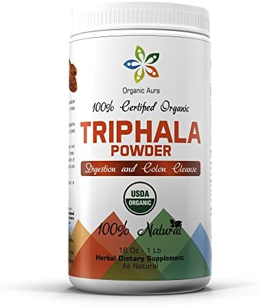 Certified Organic Triphala Powder 16Oz – 1Lb. Natural Digestion and Colon Cleanse Support. Herbal Whole Superfood. 100 All Natural, Raw and Original. by Organic Aura
