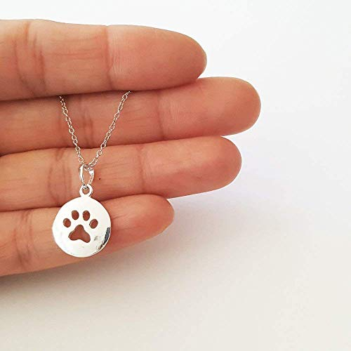 Sterling Silver Dog Pendant - Round Cut Out Paw Print Sterling Silver Pendant Necklace 18