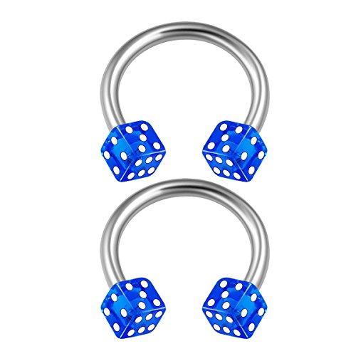 - 2PCS Stainless Steel Circular Barbell 16 gauge 5/16 8mm 3mm Dark Blue Dice Lobe Rook Earrings Cartilage Piercing Jewelry 1710