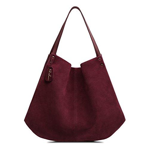Nico Louise Women Genuine Suede Leather Shoulder Bag Large Purse Travel Tote Bag (Burgundy) (Ladies Suede Genuine Leather)